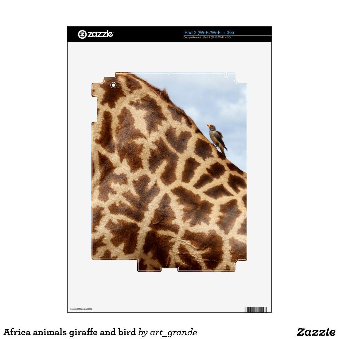 Africa animals giraffe and bird iPad 2 decals