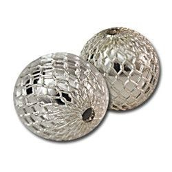 Silver Mesh Round Beads 12mm
