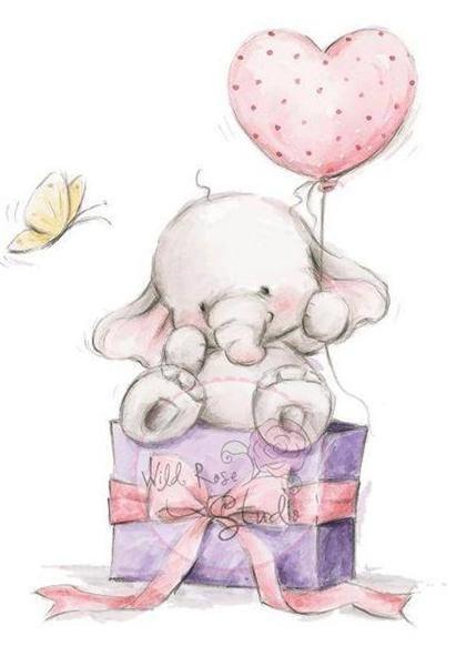 New Wild Rose Studio Clear Cling Rubber Stamp Bella Birthday Elephant Free Us Dibujos De Animales Tiernos Dibujo Animales Infantiles Imagenes De Ositos Tiernos