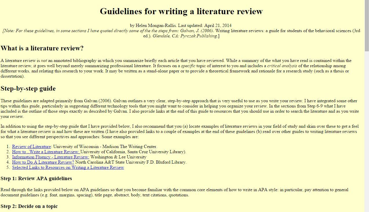 how to write the literature review