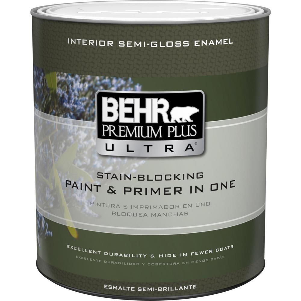 Behr Ultra 1 Qt Ultra Pure White Semi Gloss Enamel Interior Paint And Primer In One 375004 Interior Paint Paint Primer Pure Products