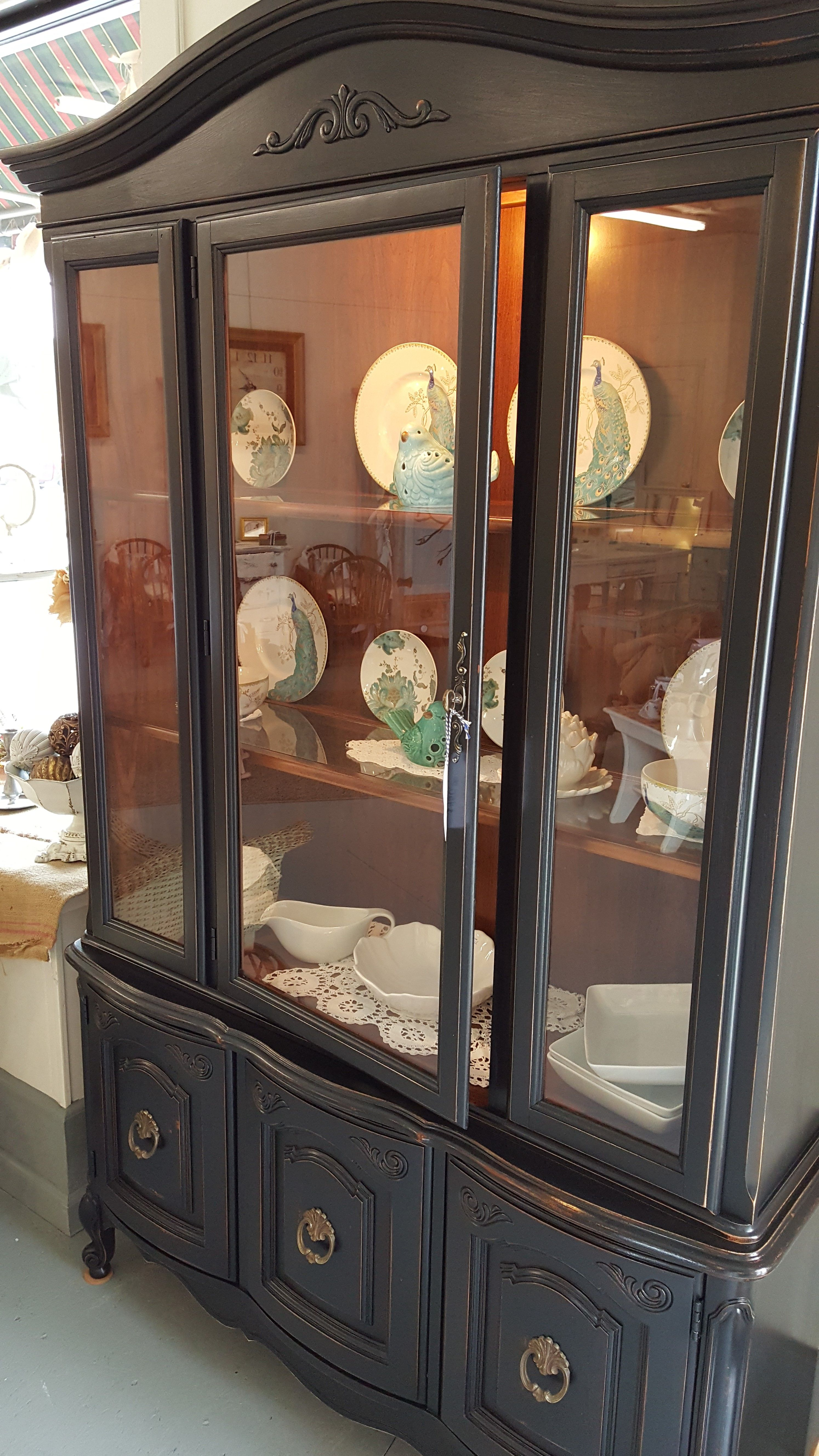 Black China Cabinet Distressed In Pottery Barn Sold