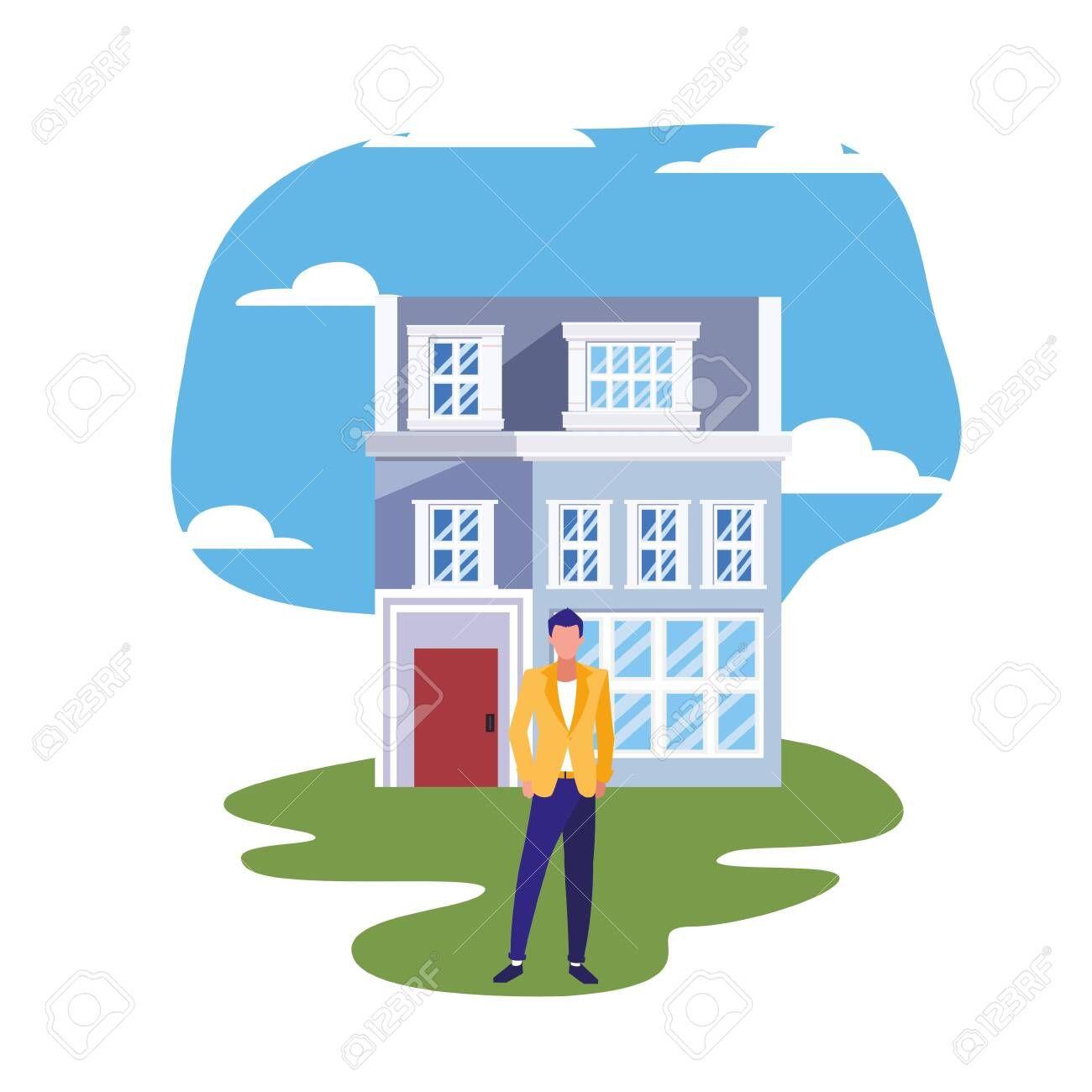 man standing in front of house street vector illustration spon vektordatei vektorgrafik illustrator