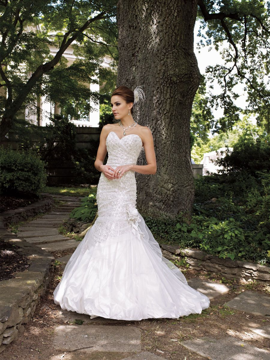 Strapless sequin lace over satin sweetheart mermaid wedding dress