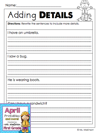 april printables first grade literacy and math simple sentences sentences and spring. Black Bedroom Furniture Sets. Home Design Ideas