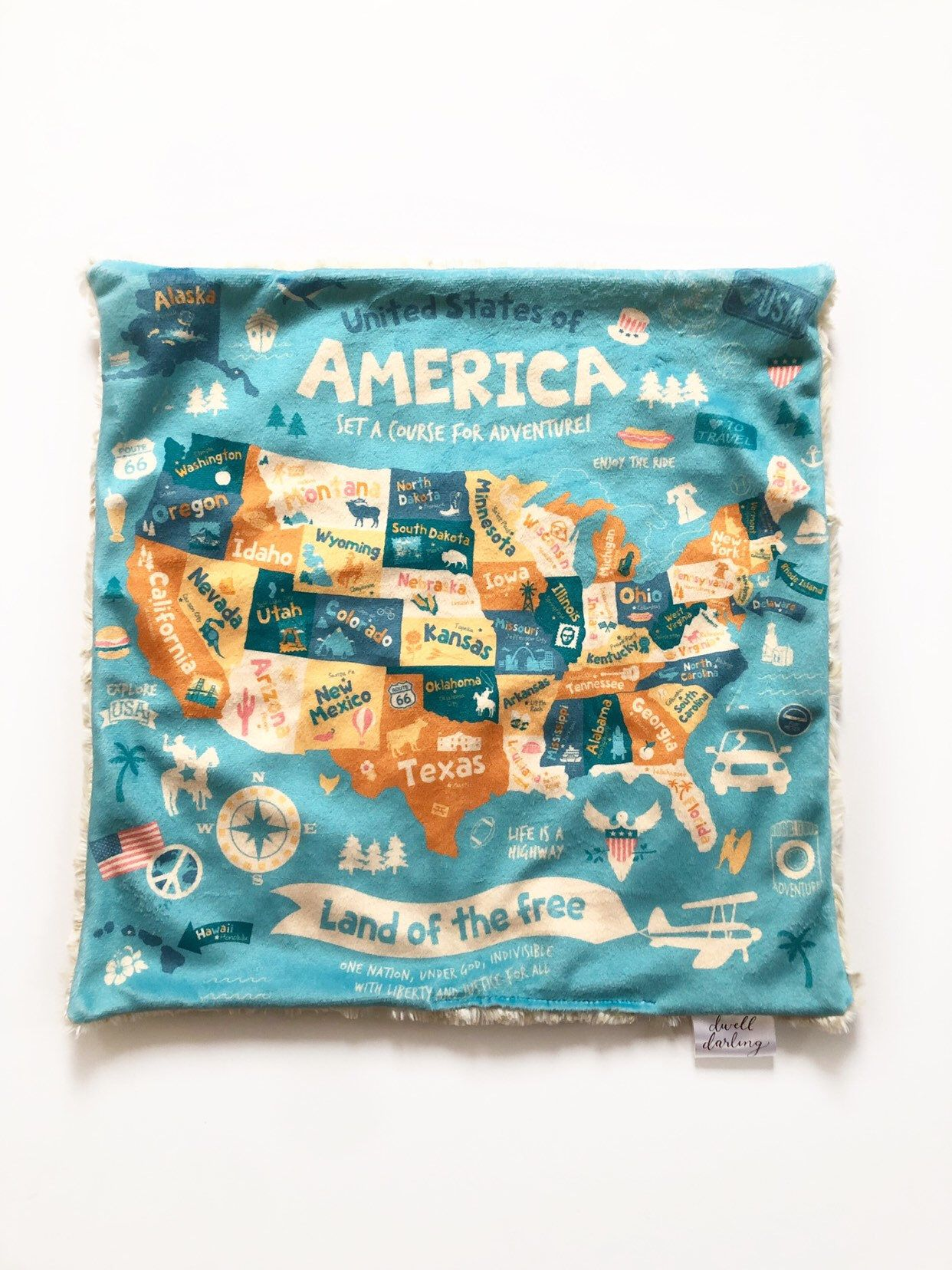 America map lovey, american security blanket, travel security Blanket, minky Baby Blanket, us map blanket #securityblankets