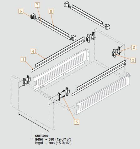 Blum ZRM.5500.US METABOX Hanging Rail Accessory METAFILE