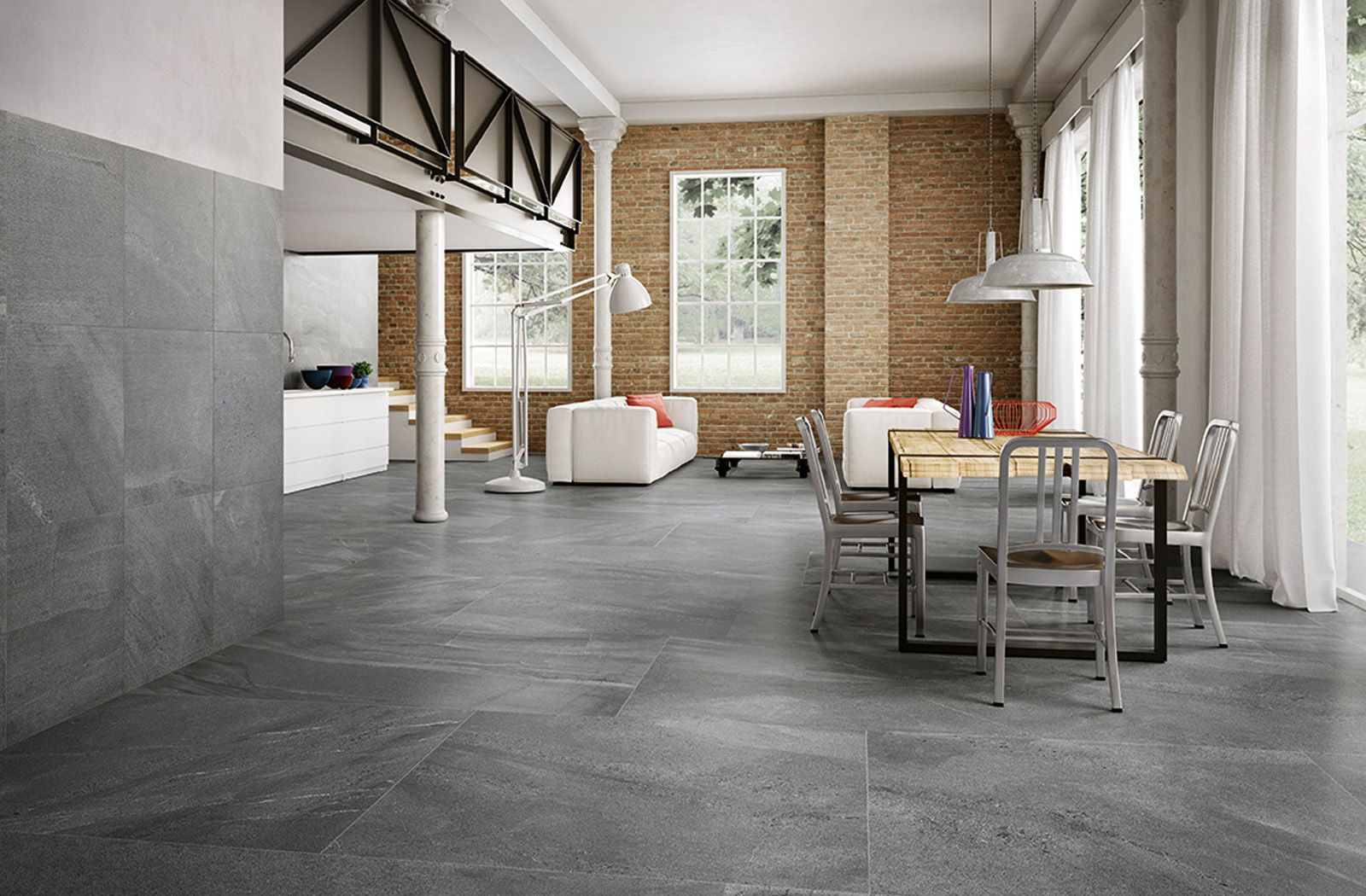 Modern industrial home interior with tiles from Ceramiche Caesar