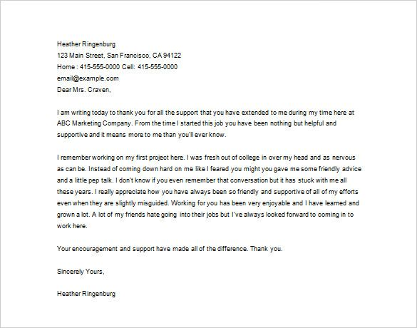 sample letter of appreciation to boss