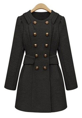 ++ Black Buttond Double Breasted Wool Coat If I wore coats, I would love this one!