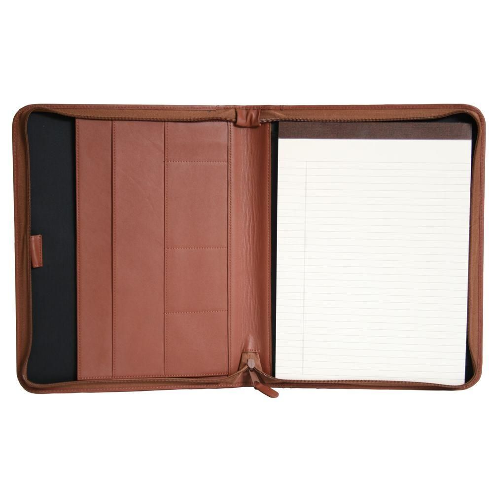 Genuine Leather Executive Convertible Zippered Writing Portfolio Organizer, Tan, Brown