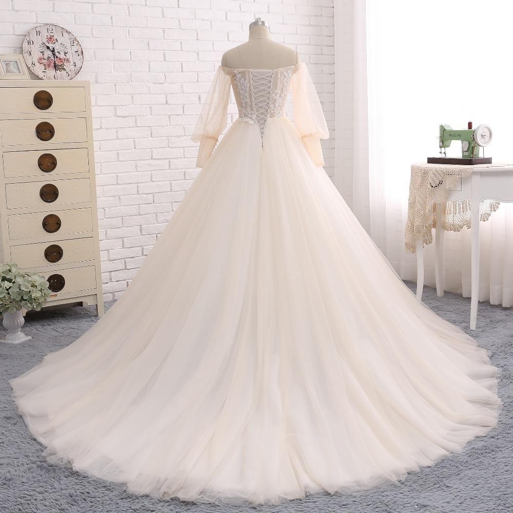 Long sleeve tulle wedding dress off shoulder charming applique
