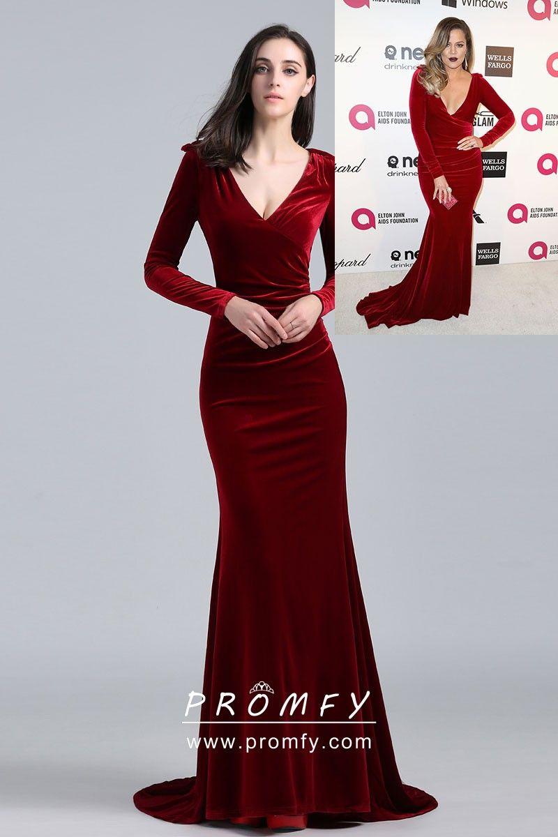 Khloe Kardashian celebrity inspired burgundy velvet elegant long sleeve mermaid  long formal prom dress. Deep V neckline long sleeves burgundy formal dress. cf4fb30b7c8e