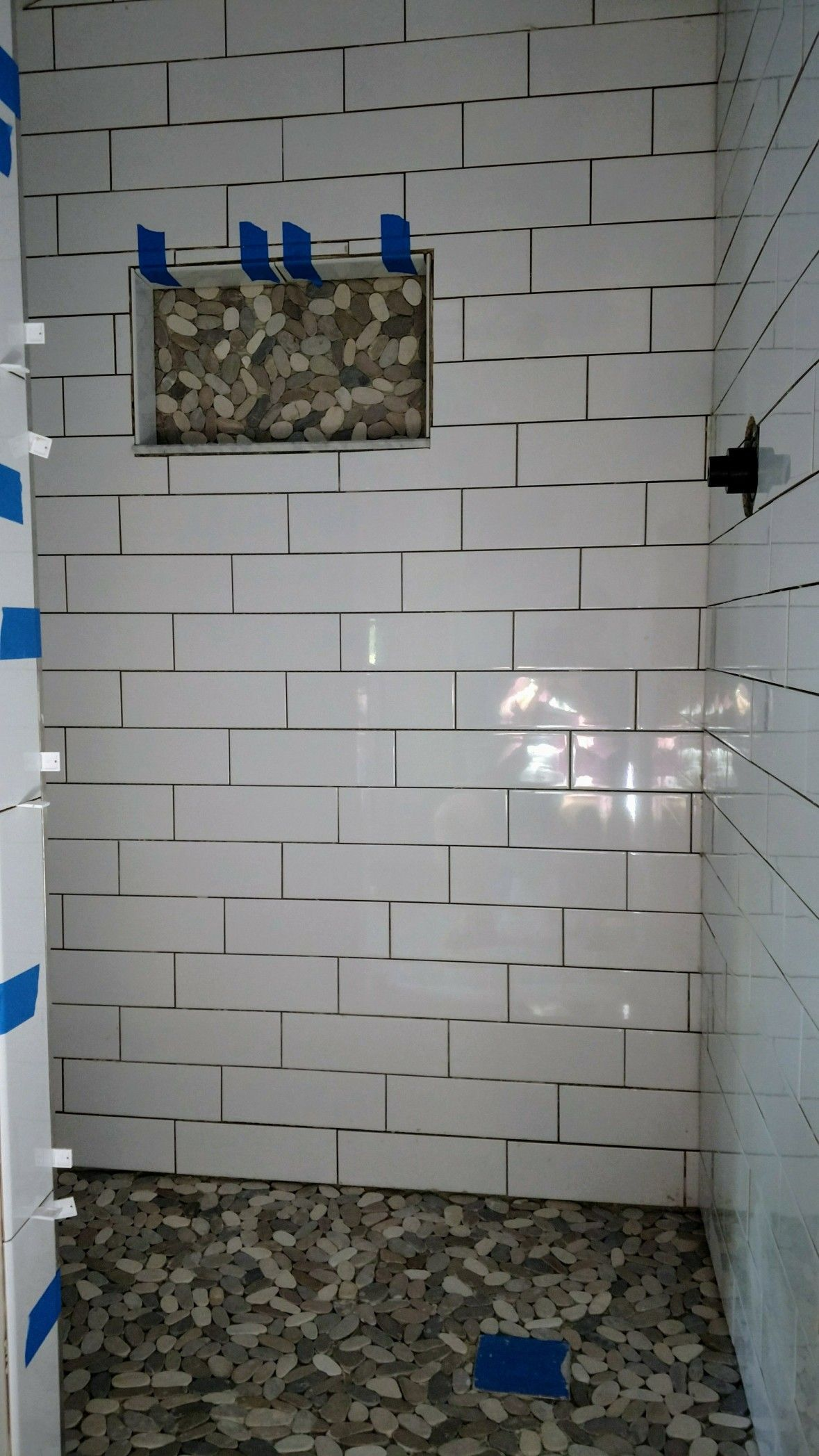This 5 ft walk in replaced a tiny 3 x 3 prefab shower. Used 4 x 12 ...