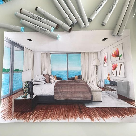 Bedroom Perspective: Drawings, Architecture, Design