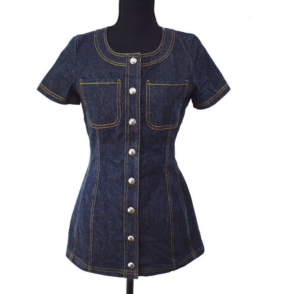 Authentic chanel vintage cc short sleeve denim one piece dress skirt