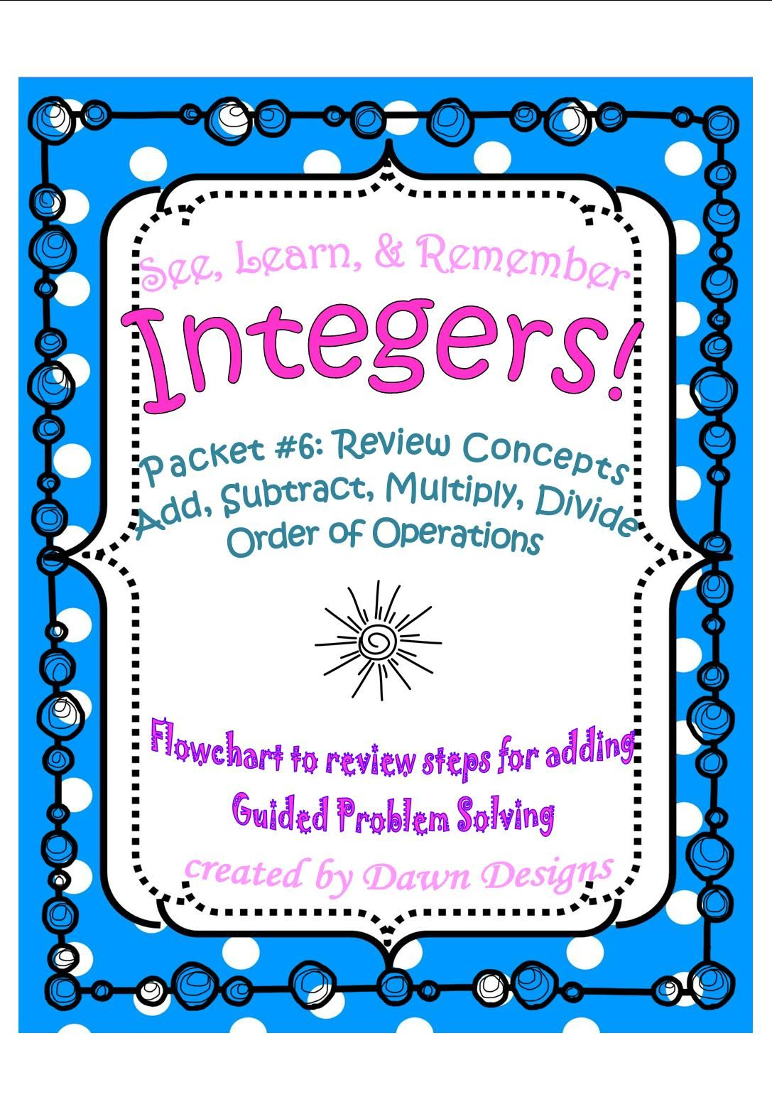 Integer Worksheet Review Concepts
