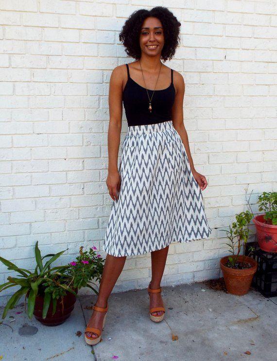 c6585465581e87 Classic Chevron Black and White Midi Skirt Fair Trade, Hand Block Printed