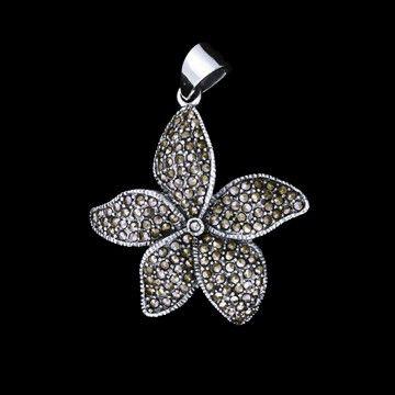 pingente de prata flor com marcassita