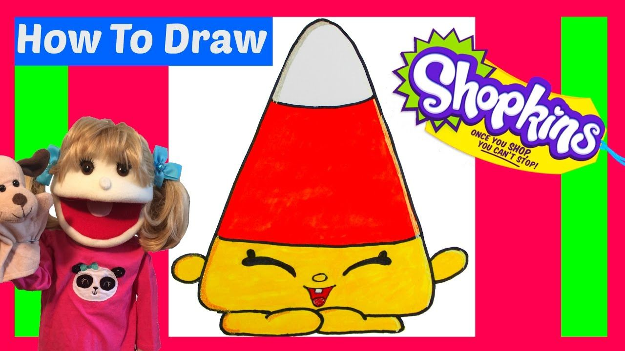 How To Draw Shopkins Mandy Candy Corn Step By Step Easy Halloween 2016 Shopkins Drawings Drawing For Kids Halloween Pictures