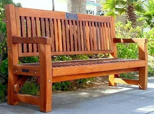 Wood Memorial Bench ~ Commercial grade redwood memorial bench this outdoor