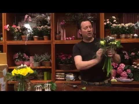 Sådan laver du en flot buket med påskeliljer - YouTube