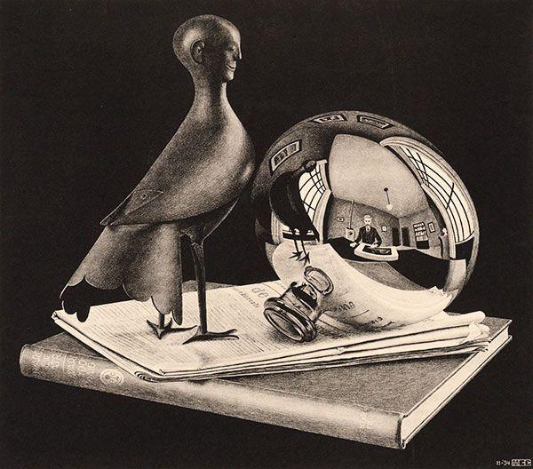 M.C. Escher. Still Life with Spherical Mirror. 1934 Lithograph. 326mm x 286mm.