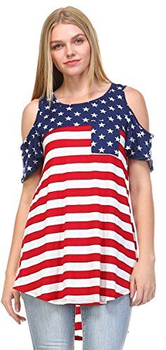 688c96a1e1c8a Zoozie LA Womens American Flag Shirt Patriotic Tank Tops Regular And Plus  Size Open Shoulder Navy Star Red Stripes 1 3X     Click image to review  more ...