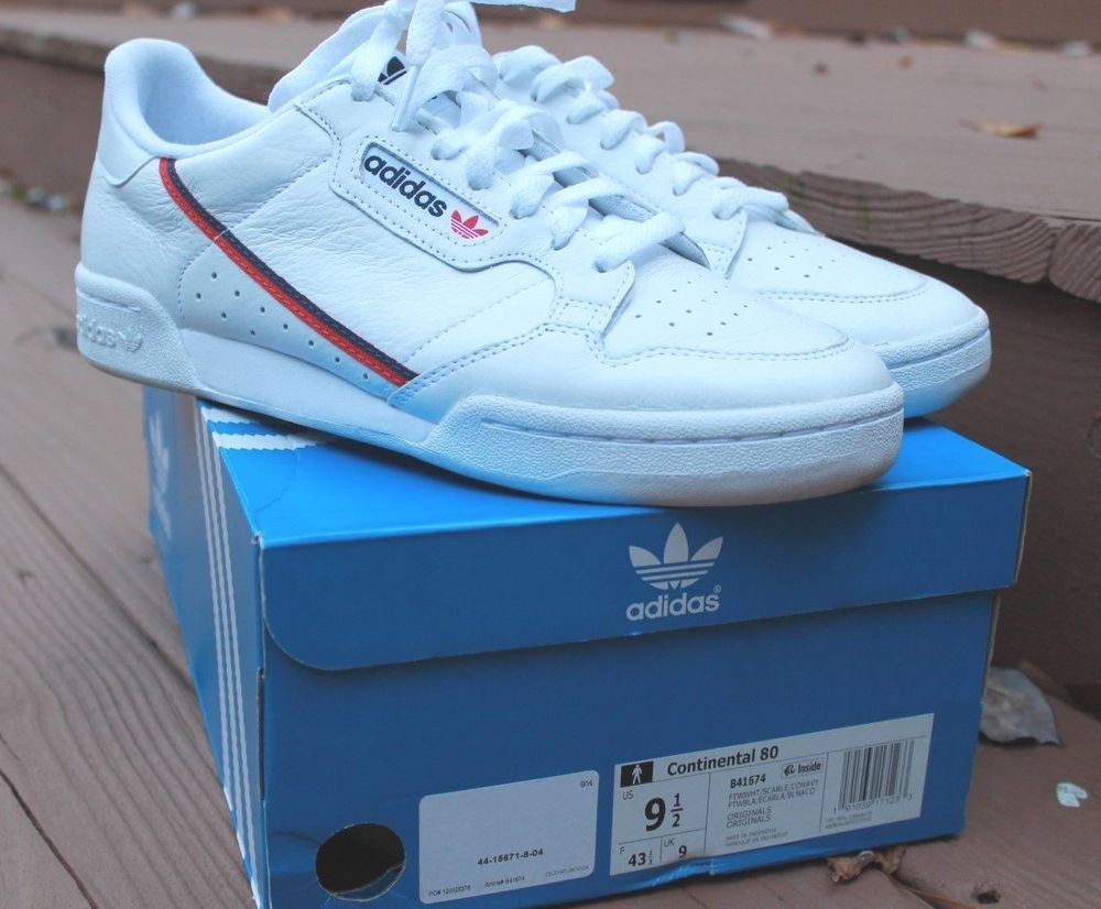huge selection of ba8e5 8f7e1 ADIDAS ORIGINALS CONTINENTAL 80 WHITE NAVY BLUE RED MENS SIZE SNEAKERS  B41674  eBay