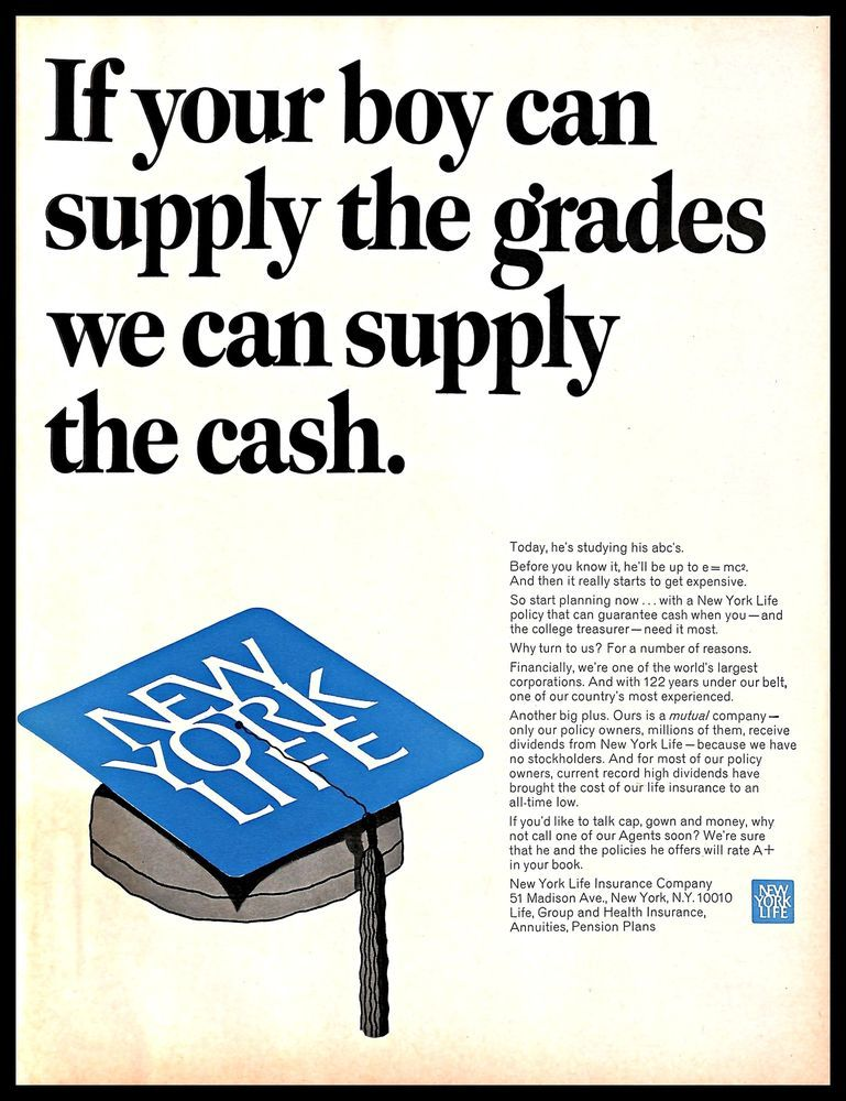 1967 New York Life #Insurance #Vintage #PRINT #AD #College ...