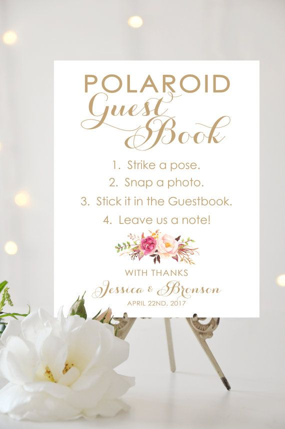 Polaroid Guest Book Sign 8 x 10 or 11 x 14 by CharmingEndeavours ...