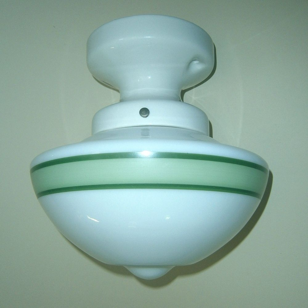 Vintage Green Striped Kitchen Flush Mount Ceiling Fixture from ...
