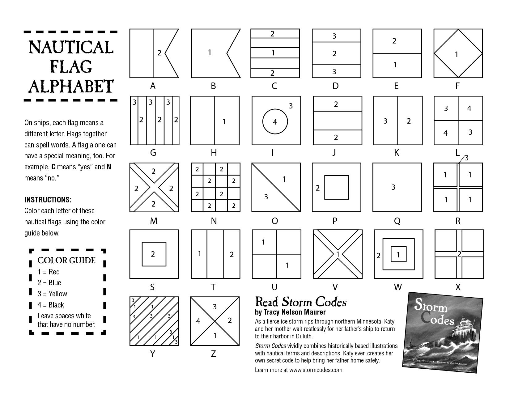 Nautical Flags Coloring Sheet