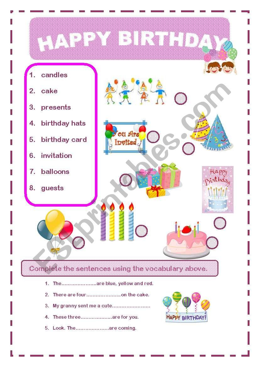 Happy Birthday Worksheet Learning English For Kids Happy Birthday Kids Happy Birthday [ 1169 x 821 Pixel ]
