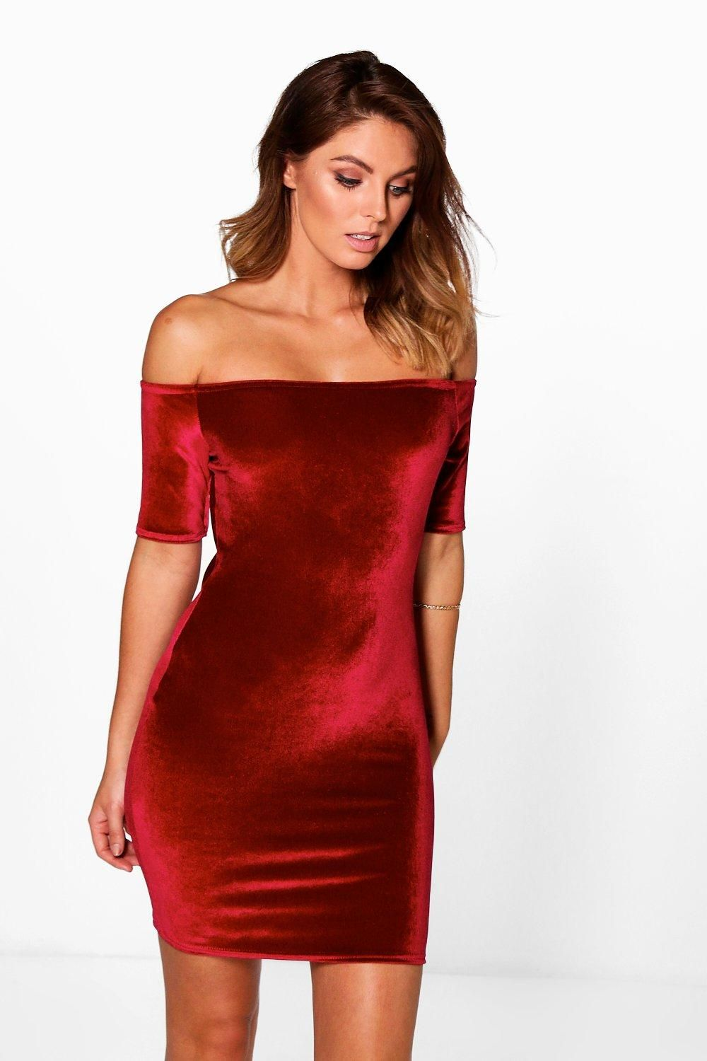 1715bdd74e Anabel Velvet Off Shoulder Bodycon Dress