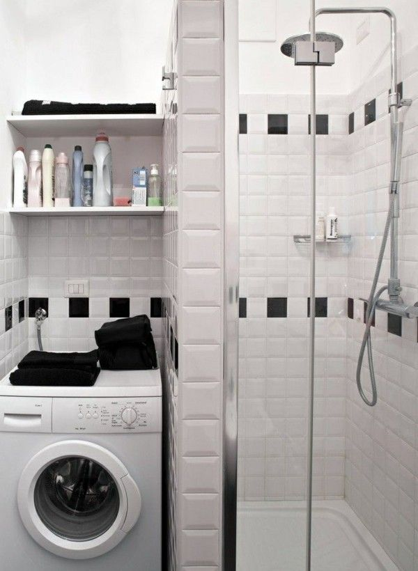 Gallery For Website Washing machine niche prefabricated shower stall small bathroom ideas