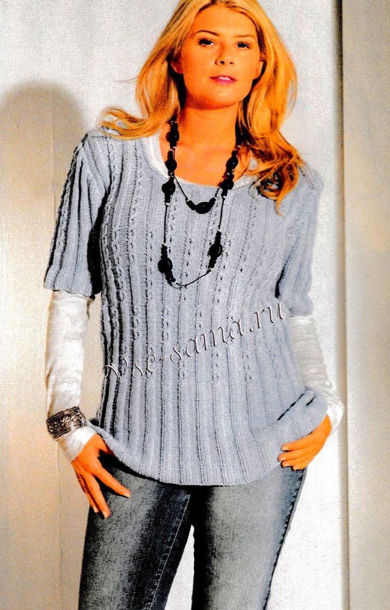 Пуловер с узором «Косы», фото | Пуловер, Летние модели