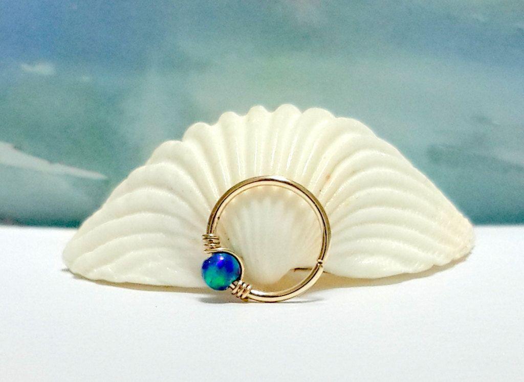 Light-Blue Opal Cartilage Earring- Gold Beaded Helix Hoop - Silver ...
