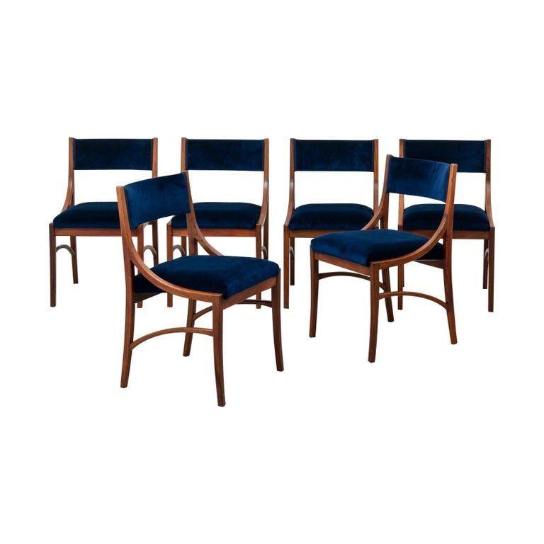 Set Of 6 Ico Parisi Dining Room Chairs - Model 110 Cassina 1961 Italian Mid-Century Modern Velvet, Rosewood#cassina #chairs #dining #ico #italian #midcentury #model #modern #parisi #room #rosewood #set #velvet