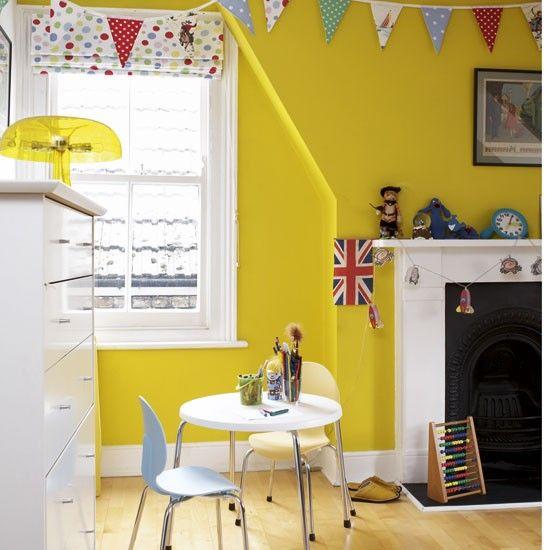 Colourful playroom   Colorful playroom, Playrooms and Yellow kids rooms