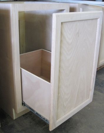 Kitchen Base Cabinet W Trash Can Pull Out Unfinished Poplar
