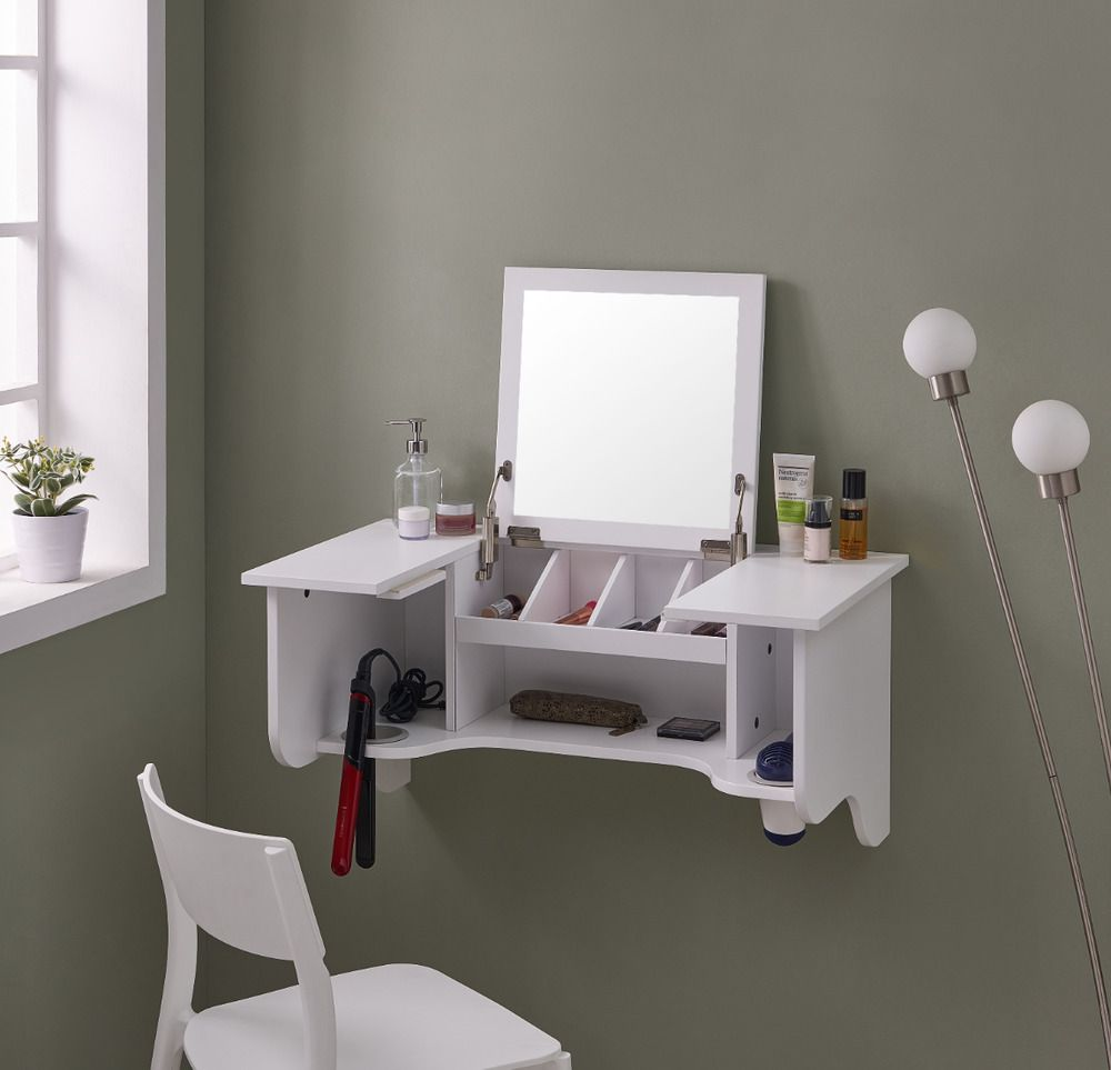 Floating Vanity Mirror With Storage Shelves Deluxe Wall Mount