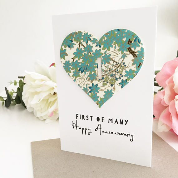 1st Anniversary Card Handmade 365 Days 1 Year 1st Anniversary