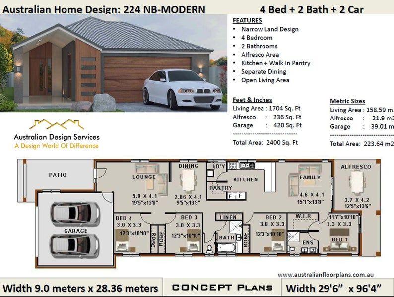 2400 Sq Foot 224 M2 4 Bedrooms Zero Lot Narrow Lot House 4 Bed House Plan Narrow Lot House 4 Bed Floor Plan Narrow House Plans Narrow Lot House Plans House Plans Australia Narrow Lot House