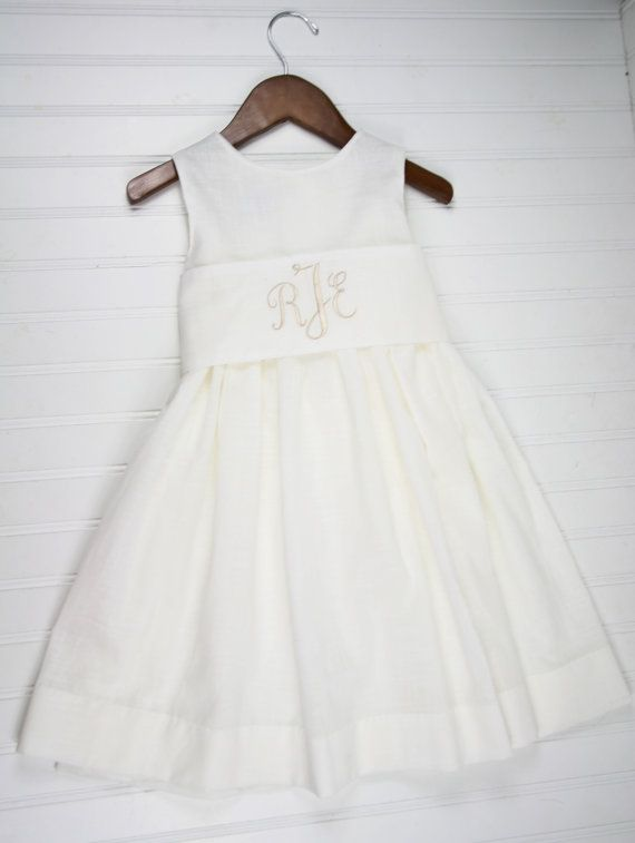 e01aeb2520b9 First Communion Dress- White Linen Dress with Monogrammed Sash for ...
