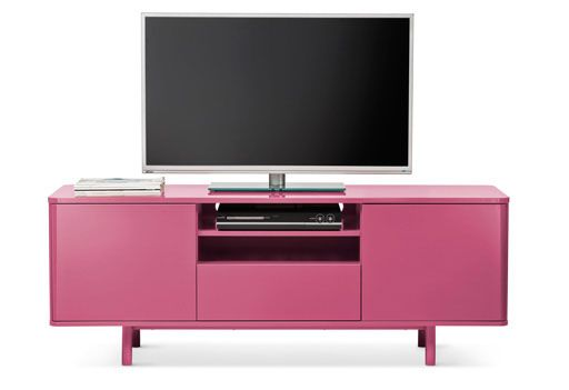A pink IKEA MOSTORP TV bench for media storage | Ideas for the House ...