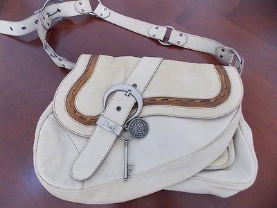 Authentic Dior Vtg Double Saddle Ivory Leather Gaucho Bag Ebay