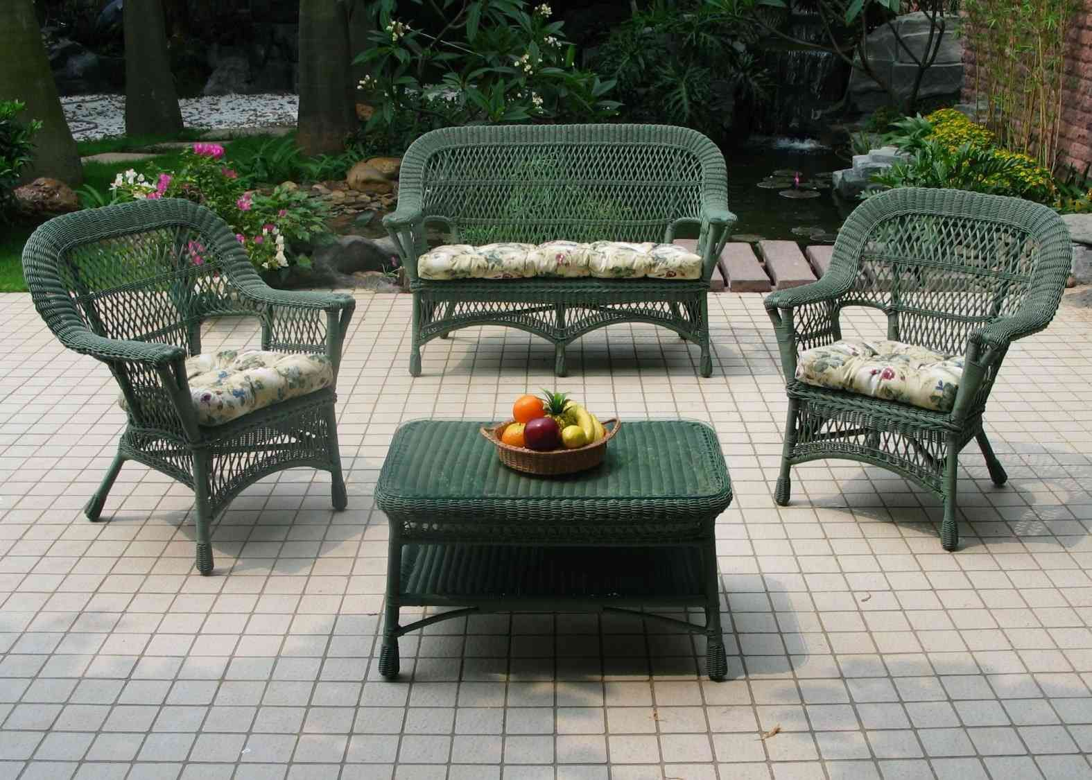 Furnitures : Classic Green Wicker Patio Furniture Set Above Ceramic Floor  Around The Plants And Flowers