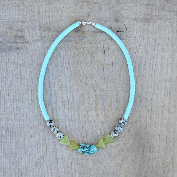 Coucou Suzette / Zoé Necklace // Turquoise statement necklace // Modern // Boho // Semi precious stone // French vintage sequins // Speckled dalmatian jasper