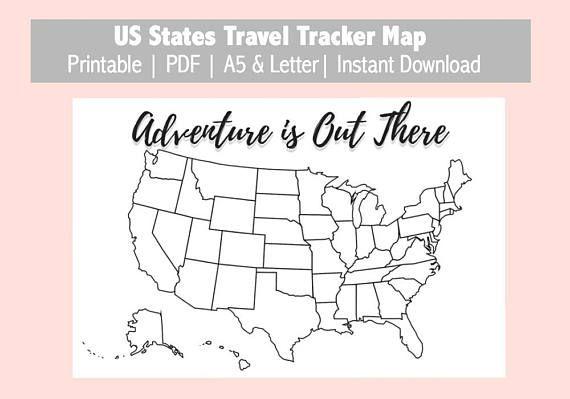 US Map Travel Tracker Printable Bullet Journal Planner Insert PDF - Us map travel tracker